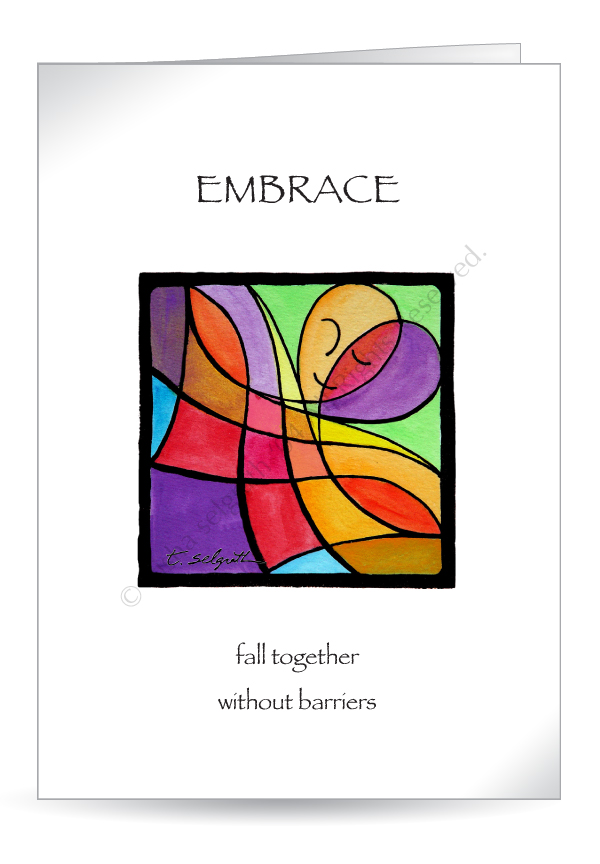 Embrace- fall together without barriers. 5x7 Greeting cards,  blank inside.